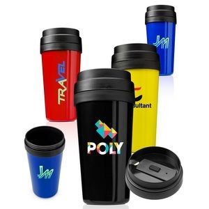 16 Oz. Plastic Insulated Tumbler w/Tiered Lid