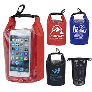"""The Navagio"" 2.5 Liter Water Resistant Dry Bag w/Clear Pocket Window"